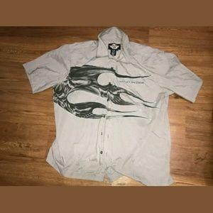 Vintage Harley Davidson Skull Button-Up Shirt